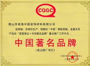 中霸荣誉-中国著名品牌